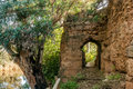 "Door inside the rampart of medieval stone that surrounds village of niebla huelva spain in ""niebla "" in province his access Stock Images"