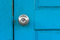 Door with knob blue old silver Royalty Free Stock Image