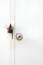 Door knobs and locks were closed on white background Stock Images