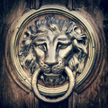 Door knocker, handle - lion head. Vintage stylized. Royalty Free Stock Photo