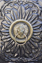 Door knocker with lion s head beautiful decorated Royalty Free Stock Image