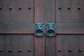 Door knocker wood in the building Royalty Free Stock Photo
