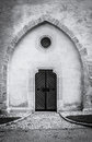 Door monochrome photo of to small old church goettweig austria Royalty Free Stock Photography