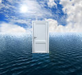Door on the ocean render d Royalty Free Stock Photography