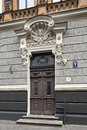 Door of the old apartment building in art Nouveau style on Alberta street. Royalty Free Stock Photo