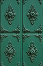 Door old design style of an ancient green painted steel Royalty Free Stock Images