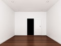 Door opening empty room d interior render Royalty Free Stock Image