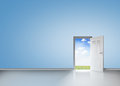 Door opening to reveal blue sky and meadow in a room Stock Photos