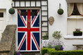Door painted with Union Jack flag