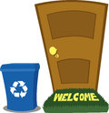 Door and Recycling Bin Royalty Free Stock Photography