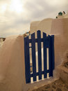 Door santorini island wooden gate to the private place Royalty Free Stock Photography