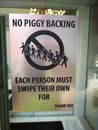Door Sign: No Piggy Backing, S...