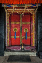 Door of Spituk monastery. Ladakh, India Royalty Free Stock Photo