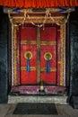 Door of Spituk monastery. Ladakh, India Royalty Free Stock Photo