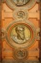 Roman catholic church. Door of the Saint Stephen Basilica - landmark attraction in Budapest, Hungary. Royalty Free Stock Photo