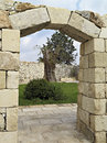 Door of stone with keystone wall and arch and in a courtyard a farm in italy Stock Photo