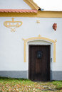 Door to baroque farmhouse in Holasovice Stock Photography