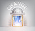 Door to change concept of a fantastic white marble with columns with light streaming through it Stock Photo