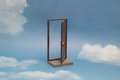 Door to new world. Open door on blue sunny sky with fluffy clouds. Royalty Free Stock Photo