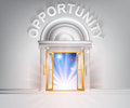 Door to opportunity concept of a fantastic white marble with columns with light streaming through it Royalty Free Stock Photos