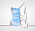 Door to sky drawing room with opened Stock Image