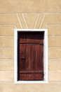 Door in a wall wooden vintage brown the Stock Image