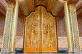 Door woodcarving in temple thailand Royalty Free Stock Images