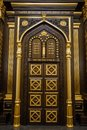 Doors of the ark from carved wood holding the Torah scrolls in Voronezh Synagogue Royalty Free Stock Photo
