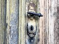 Doors with bolts nice old wooden door rusty in the middle Royalty Free Stock Photo