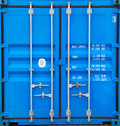 Doors of container closed with a padlock on it Stock Images