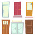 Doors Icons Set House Cartoon Design Isolated Vector Illustration Royalty Free Stock Photo