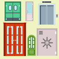 Doors isolated vector illustration entrance doorway home house interior exit design architecture entry set enter object