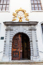 Doors of jesuit church in old town bratislava travel to city holy saviour on the franciscan square Stock Images