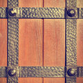 Doors reinforced with iron close up Stock Images
