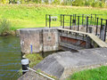 Doors of sluice in water barrier wooden lock gates the dam the river rhine on october at werkhoven the netherlands Royalty Free Stock Photo