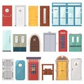 Doors vector front entrance doorway set to house and set of building in flat style doorstep illustration isolated on Royalty Free Stock Photo