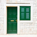 Doors and window green croatia Royalty Free Stock Photography
