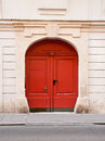 Doorway european house gate painted red Stock Image