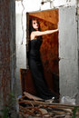 Doorway Goth Girl Royalty Free Stock Photo