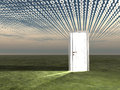 Doorway in landscape with binary Stock Photo