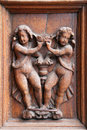 The Doorway of Spello Santa Maria Maggiore cathedral - Detail, Umbria Royalty Free Stock Photo