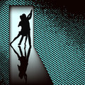 Doorway tango background illustration with couple dancing in in a backlit door Stock Image