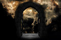 Doorway to heaven or hell against dramatic stormy sky Royalty Free Stock Image