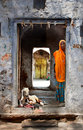Doorway to a house in samode india doorways into an indian village with woman child and goat Royalty Free Stock Photos