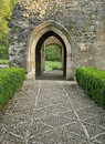Doorway to minster lovell hall cobbled path oxfordshire Royalty Free Stock Image