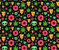 Dope trip flat vector seamless pattern marijuana leafs, donuts, pizza slices and aliens. Isolated on white background