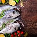 Dorada, fresh fish with vegetable, lemon, herbs, onion, paprika, cherry tomatoes, onion, salton dark vintage background. Copy spac Royalty Free Stock Photo