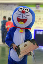 Doraemon send ads ad in xiamen real estate exhibition amoy city china Stock Images