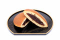 Dorayaki japanese confectionery on wooden plate Stock Photos