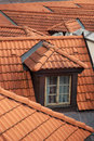 Dormer window on the roof of a building hluboka castle czech republic Royalty Free Stock Photo